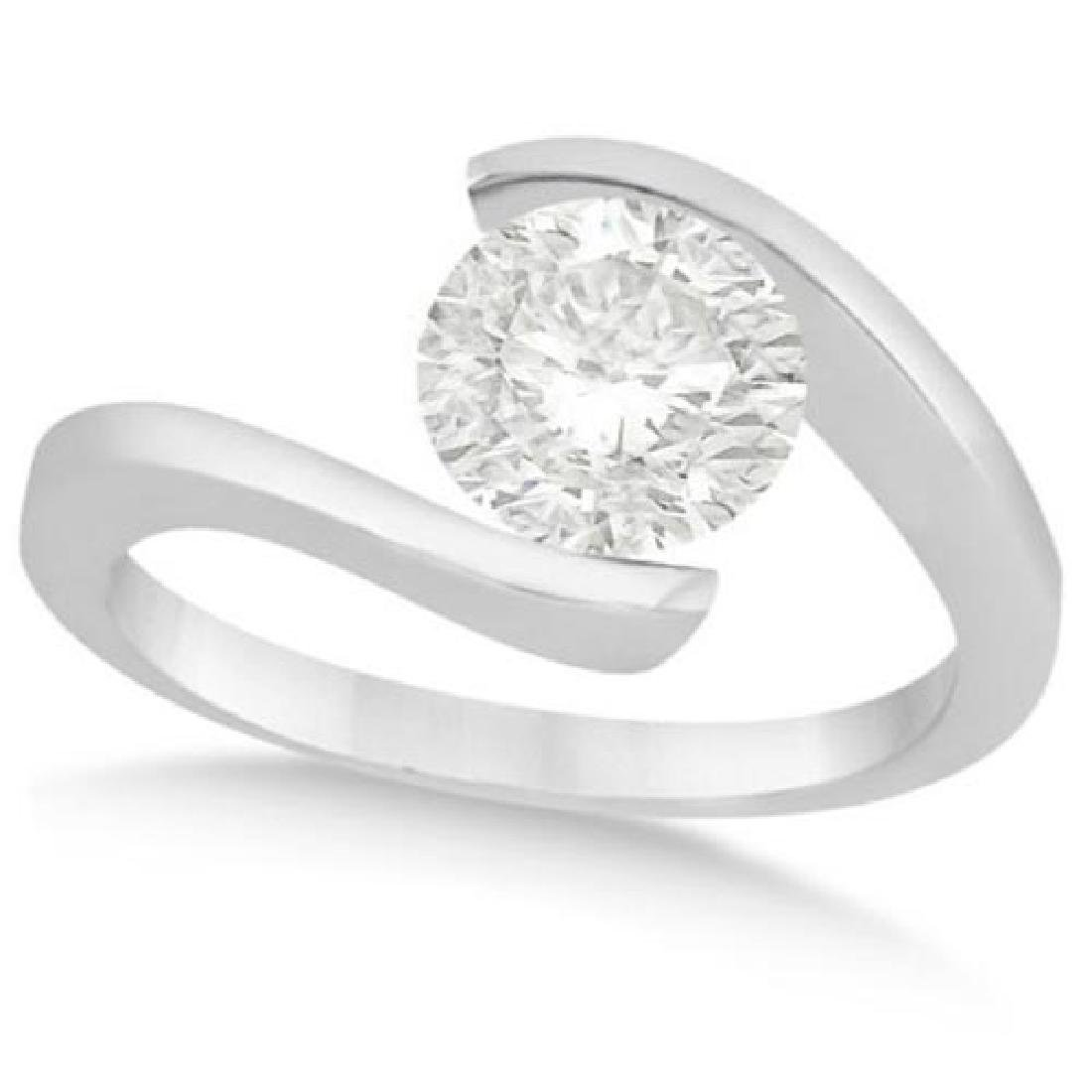 Tension Set Solitaire Diamond Engagement Ring 14k White