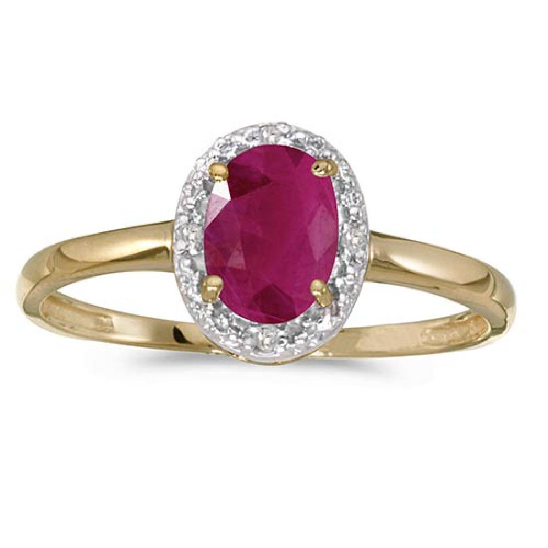 Certified 10k Yellow Gold Oval Ruby And Diamond Ring 0.
