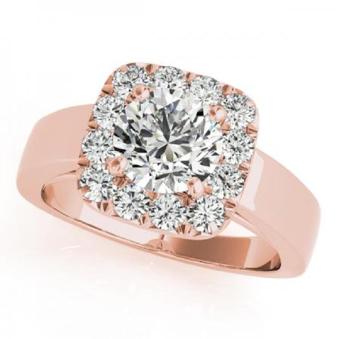 CERTIFIED 18K ROSE GOLD 1.08 CT G-H/VS-SI1 DIAMOND HALO