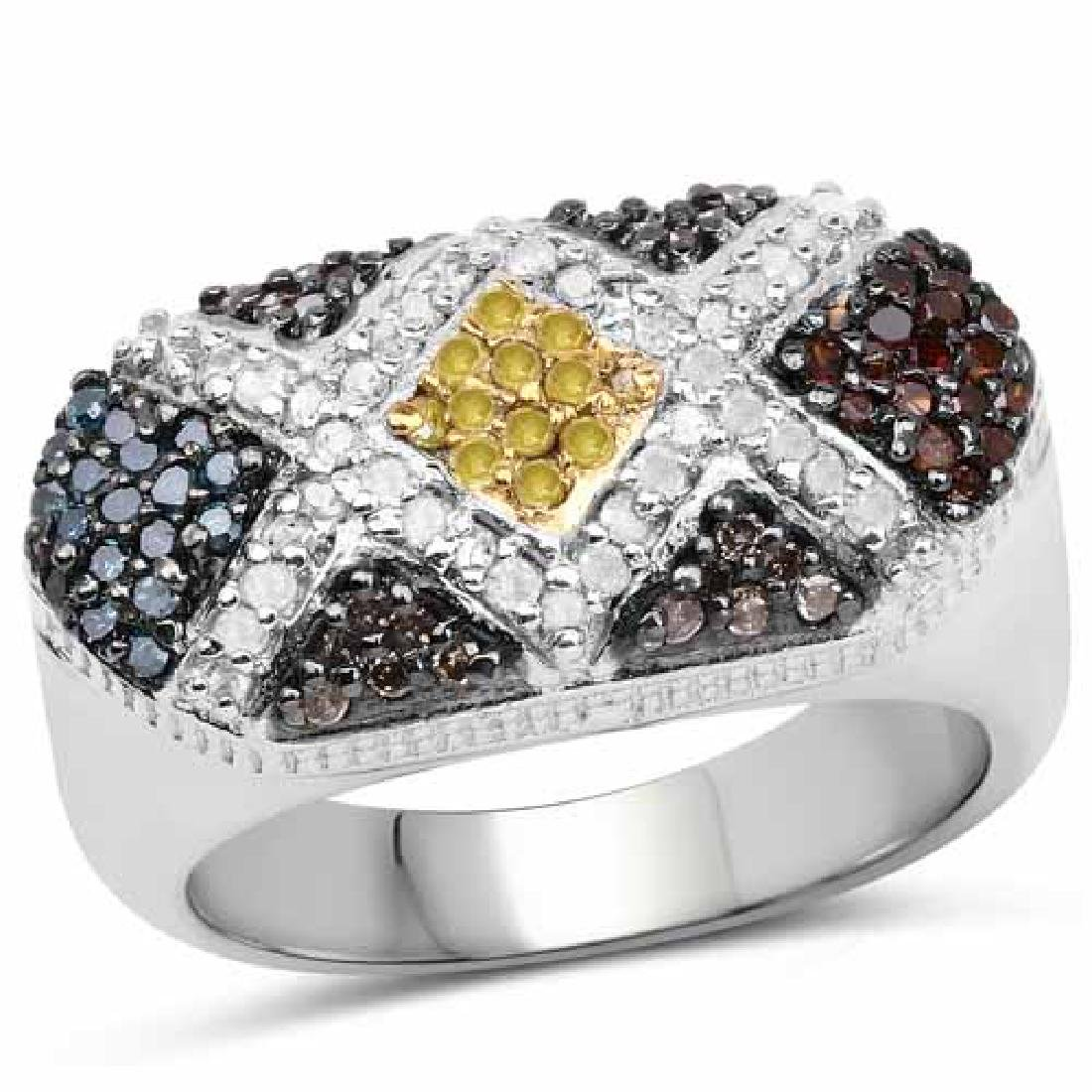 0.61 Carat Genuine Multi Diamond .925 Sterling Silver R