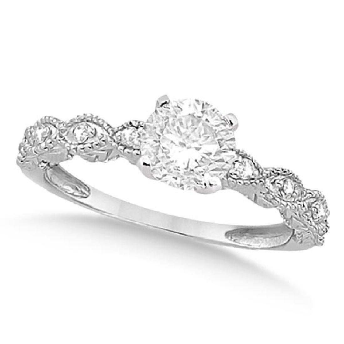 Petite Antique-Design Diamond Engagement Ring 14k White