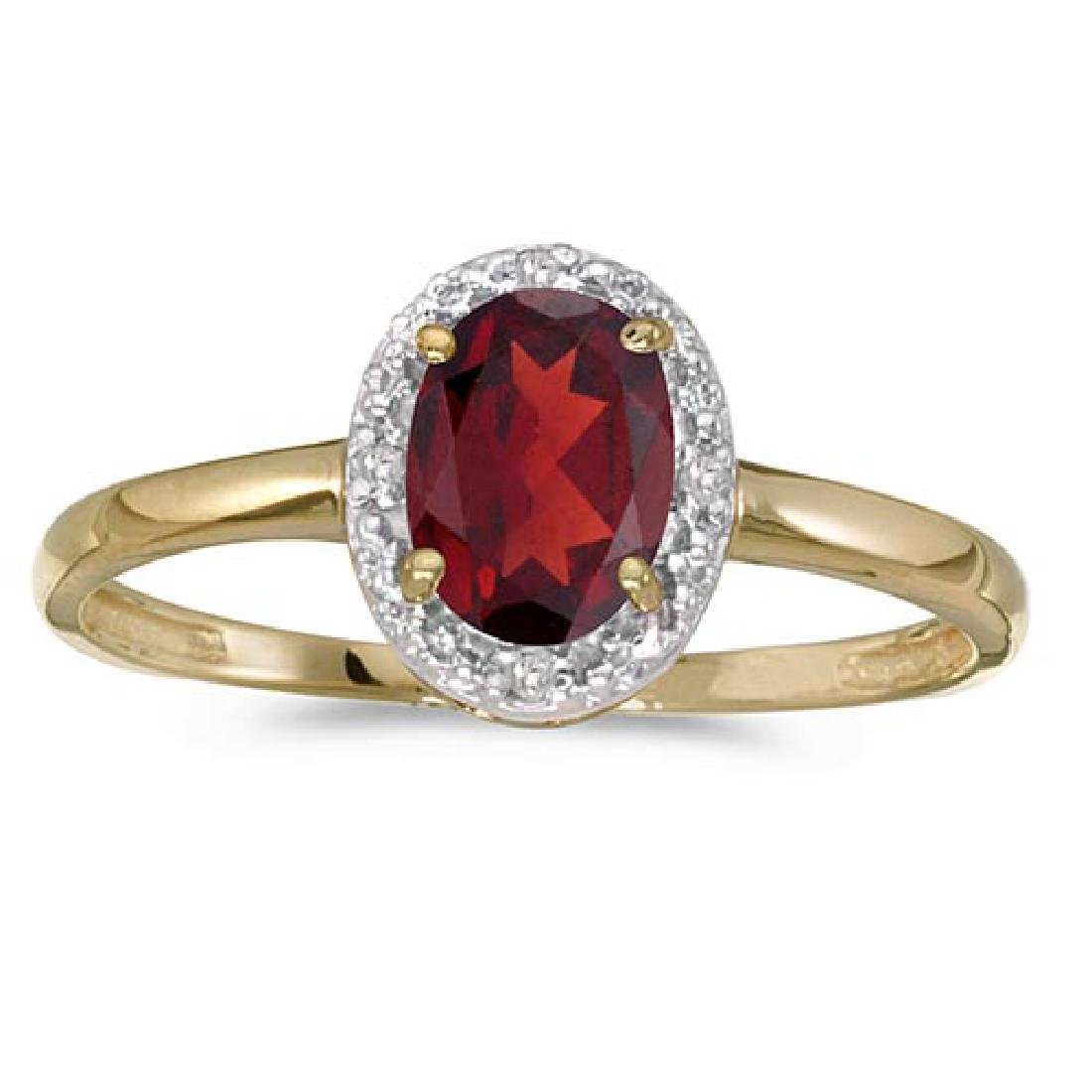Certified 10k Yellow Gold Oval Garnet And Diamond Ring