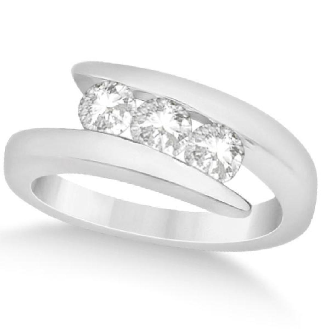 Three Stone Diamond Journey Ring Tension Set 14K White