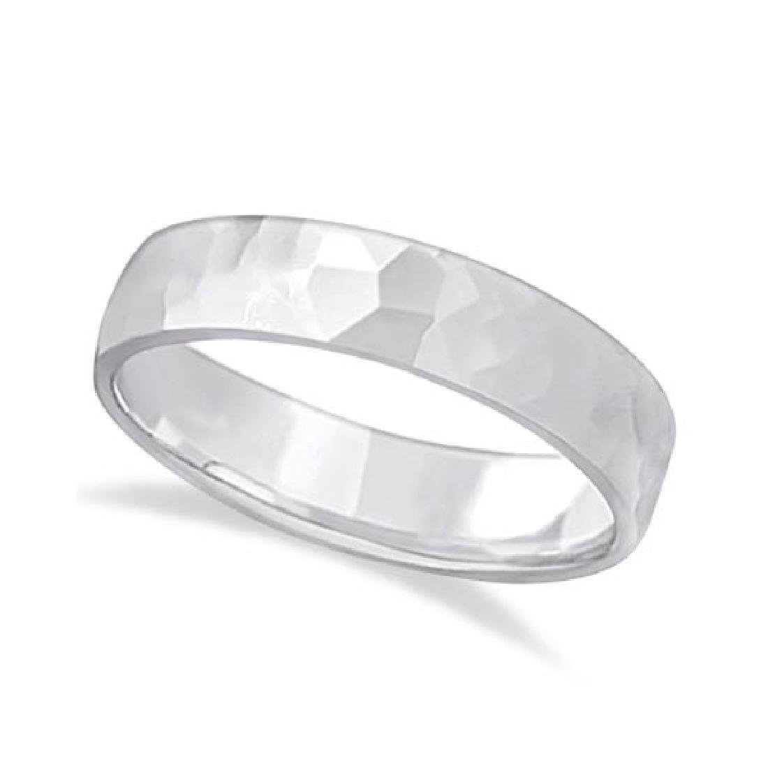 Mens Hammered Finished Carved Band Wedding Ring 14k Wh