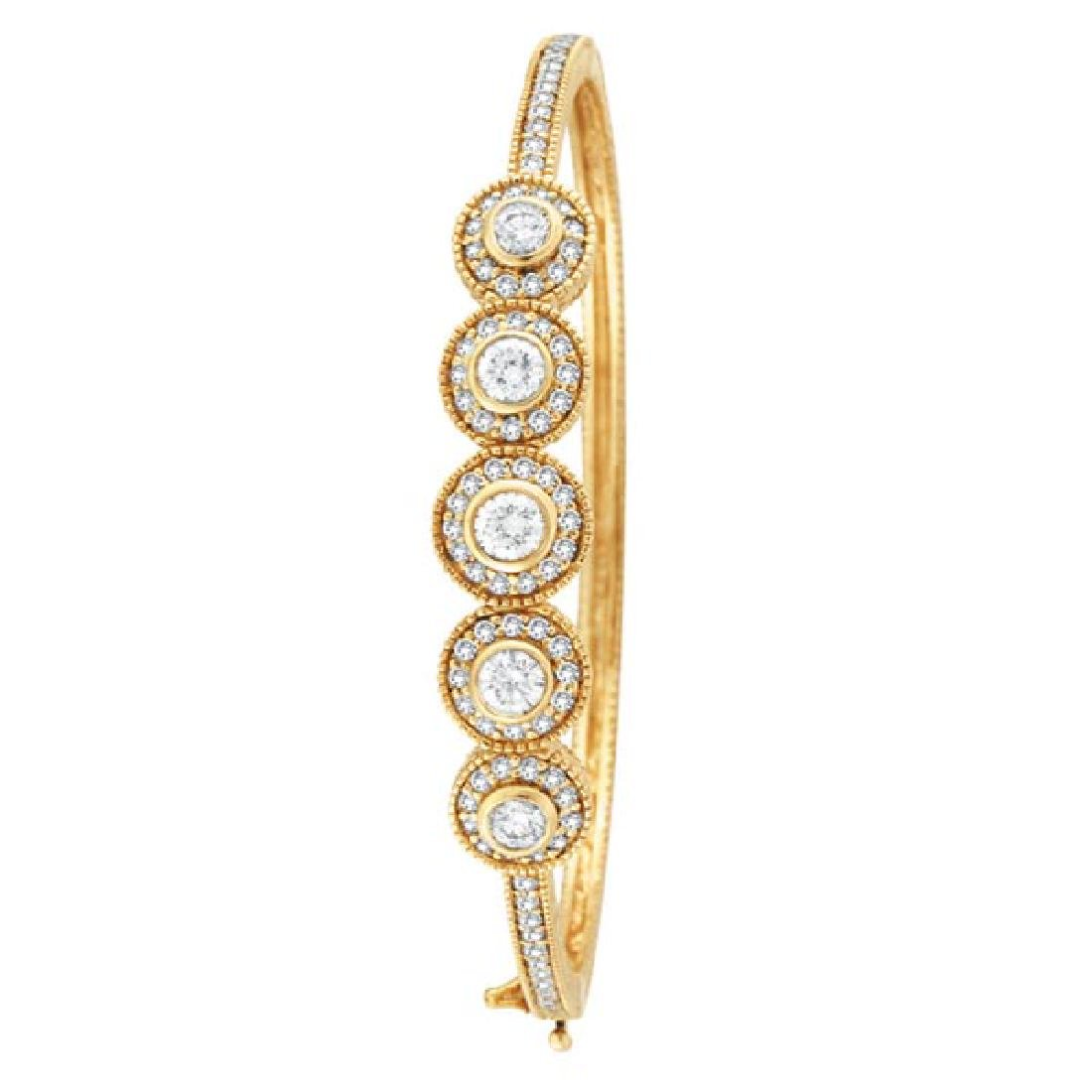 Vintage Style Diamond Bangle Bracelet 18K Yellow Gold (