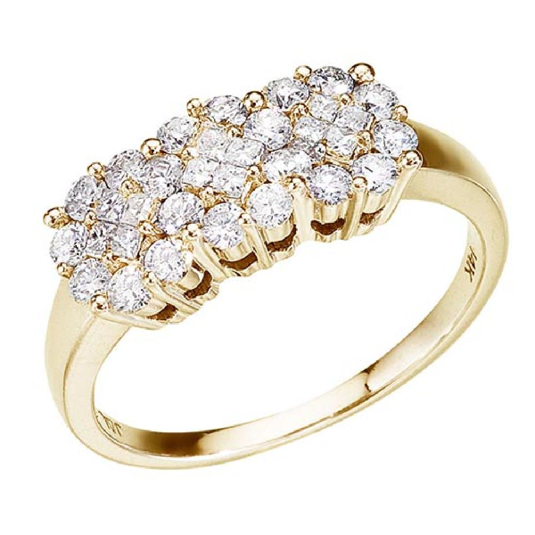 Certified 14K Yellow Gold .75 Ct Diamond Cluster Ring 0