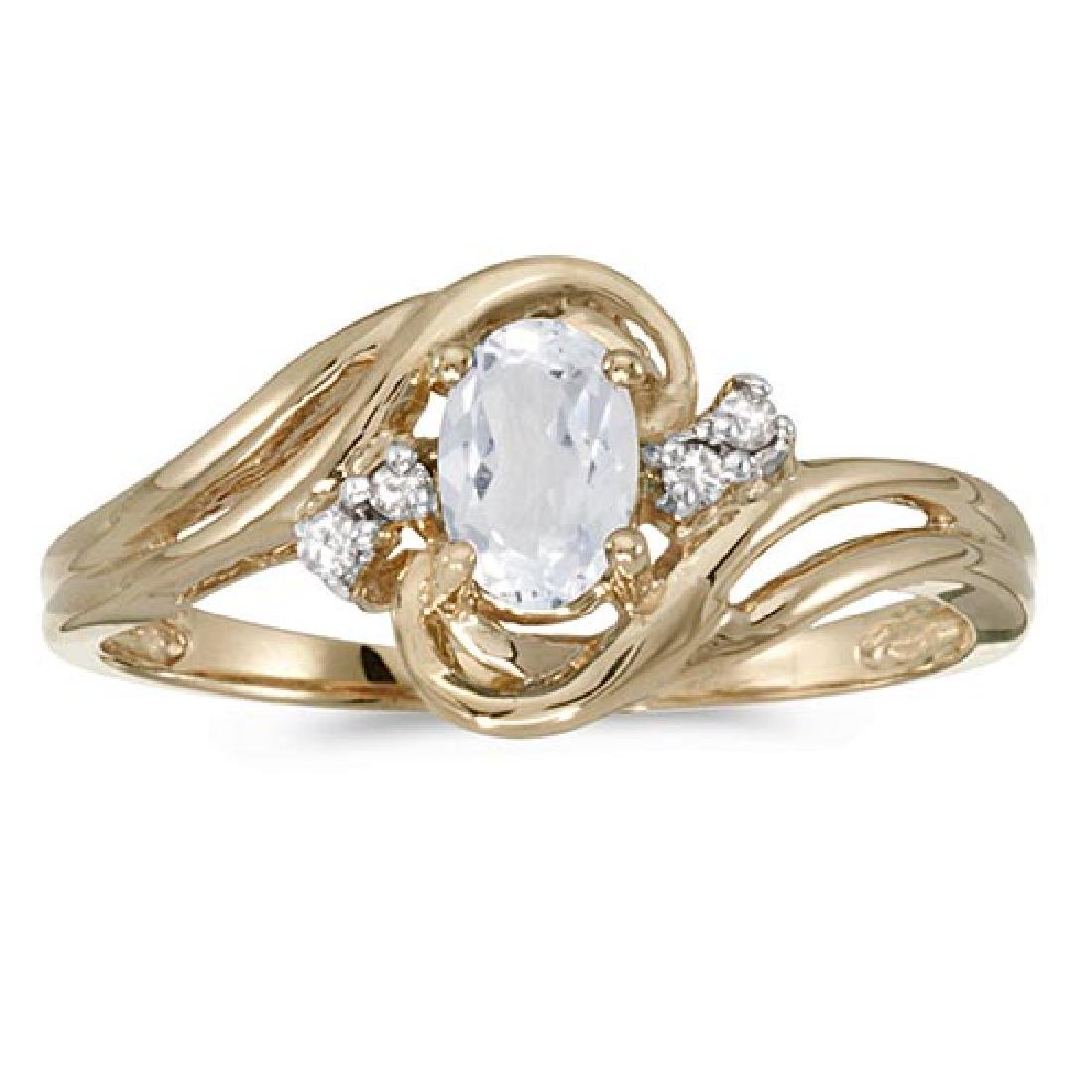 Certified 10k Yellow Gold Oval White Topaz And Diamond