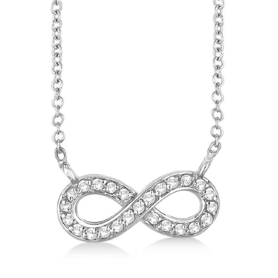 Pave-Set Diamond Infinity Pendant Necklace 14K White Go