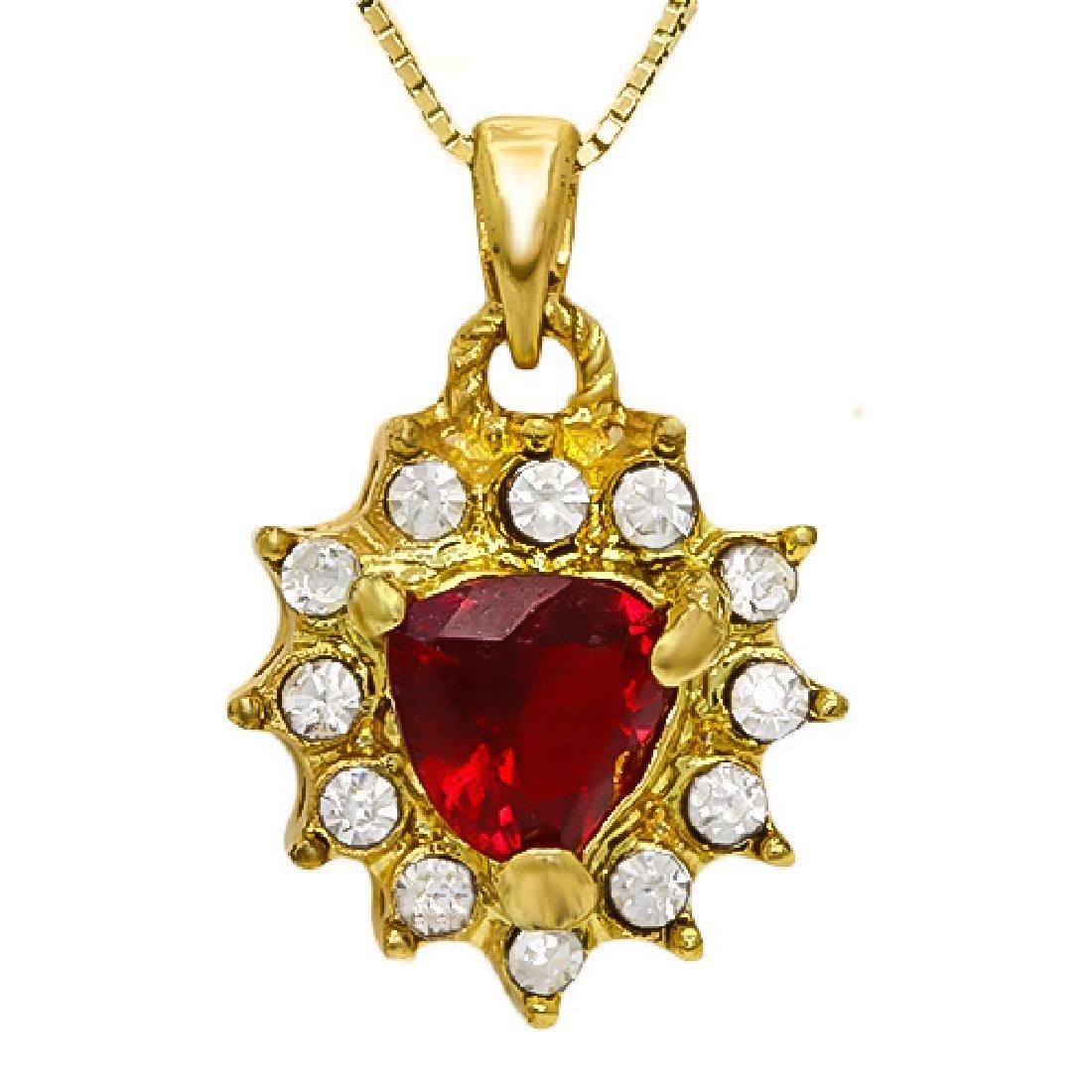 CREATED RUBY & FLAWLESS CREATED DIAMOND 18K GOLD PLATED