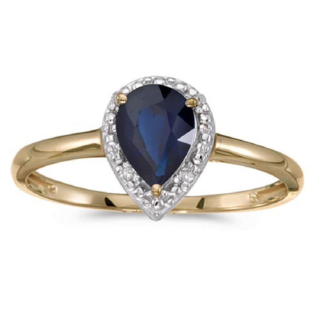 Certified 10k Yellow Gold Pear Sapphire And Diamond Rin
