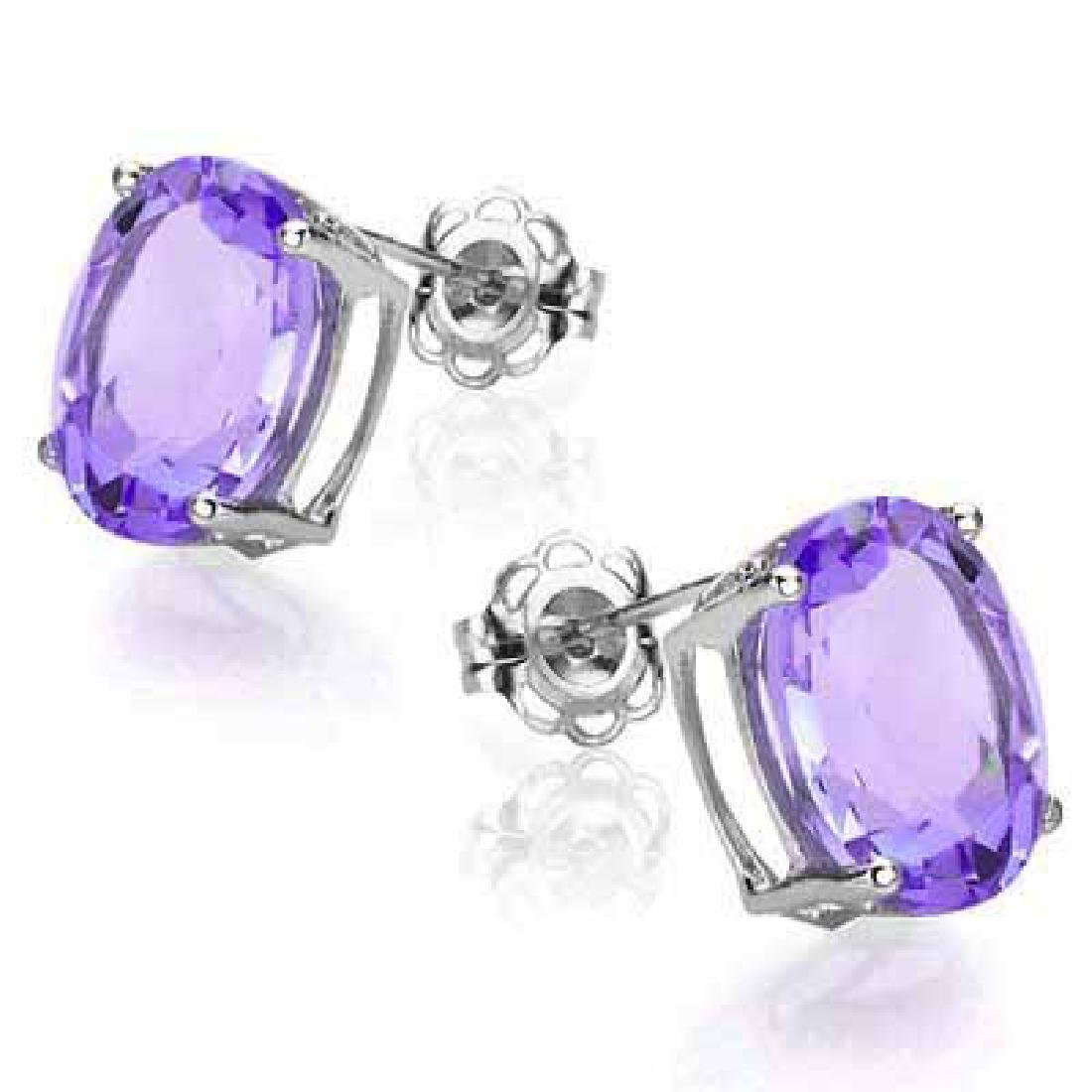 1.73 CT AMETHYST 0.925 STERLING SILVER W/ PLATINUM EARR