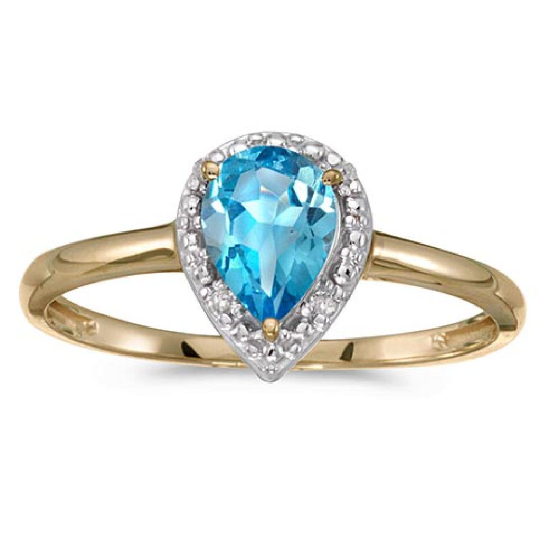 Certified 14k Yellow Gold Pear Blue Topaz And Diamond R