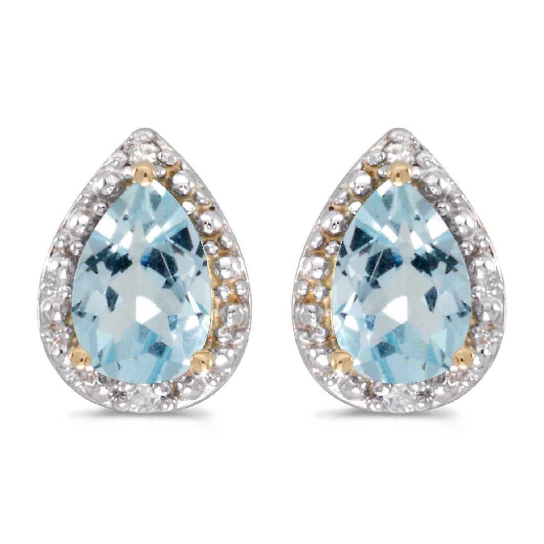 Certified 14k Yellow Gold Pear Aquamarine And Diamond E