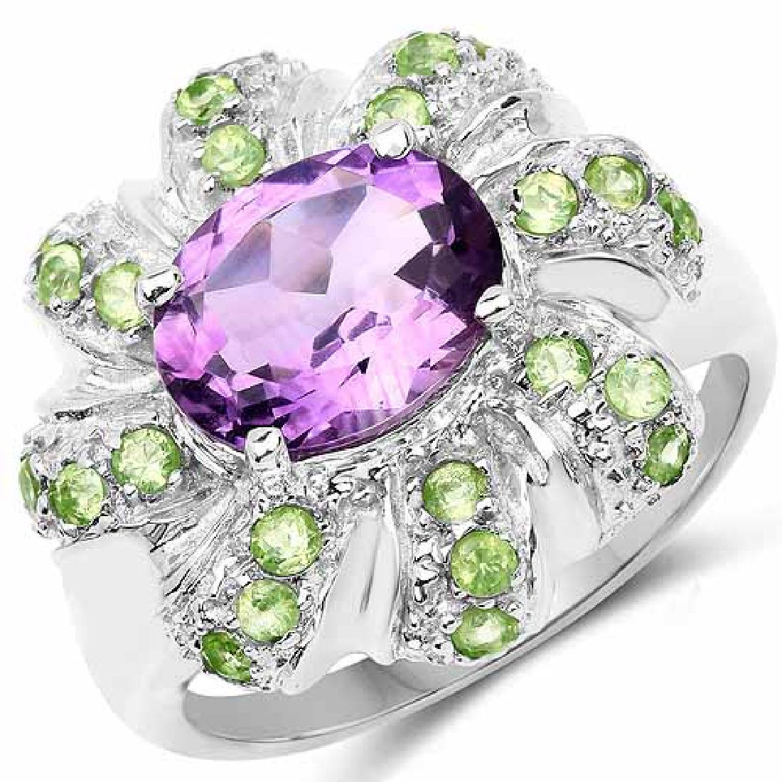 2.68 Carat Genuine Amethyst and Peridot .925 Sterling S