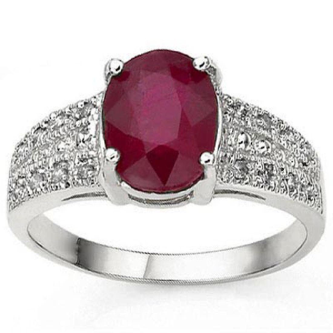 1.82 CT AFRICAN RUBY & 16 PCS WHITE DIAMOND 10K SOLID W