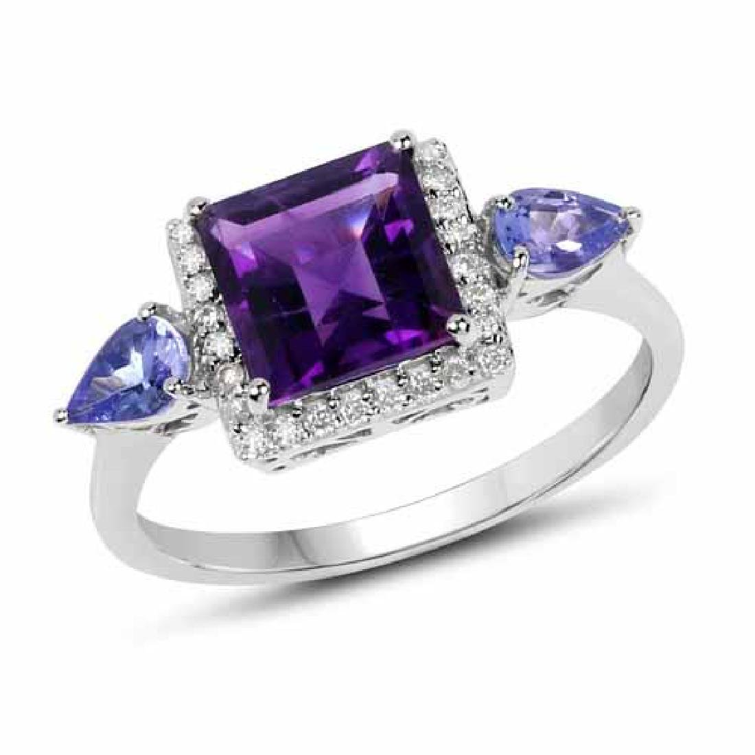 2.07 Carat Genuine Amethyst Tanzanite and White Diamon