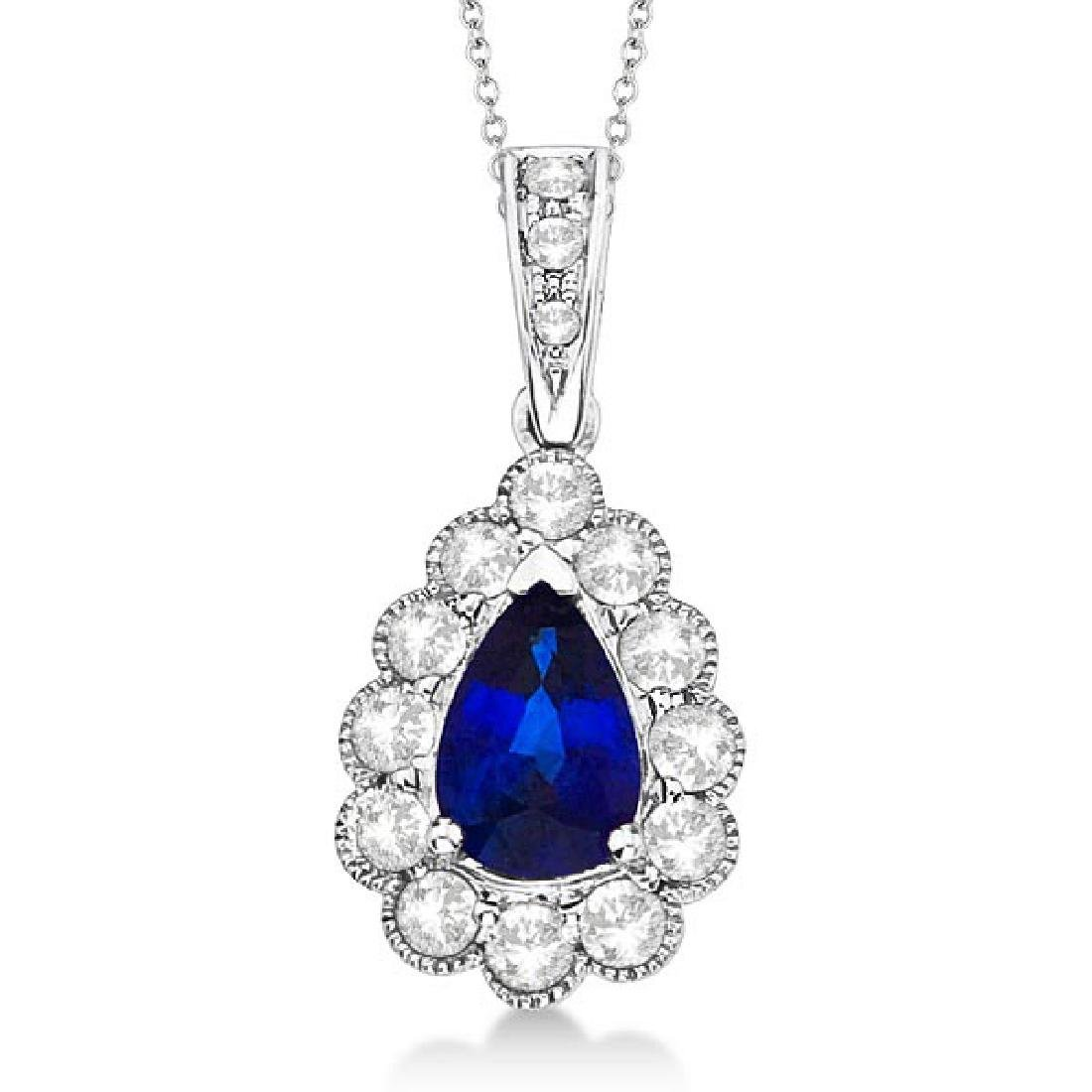 Pear Sapphire and Diamond Pendant Necklace in 14K White