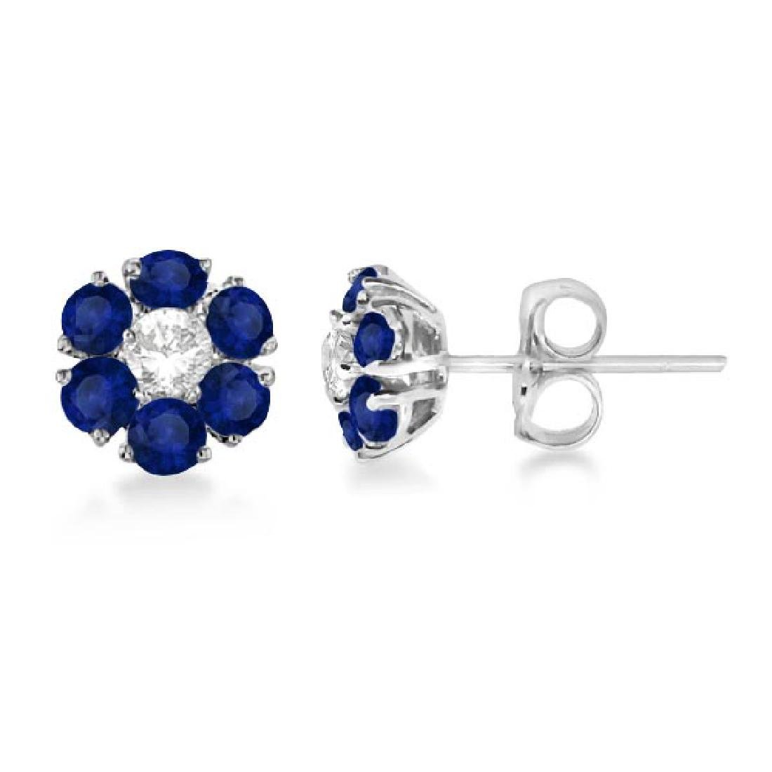 Diamond and Sapphire Flower Cluster Earrings 14K White