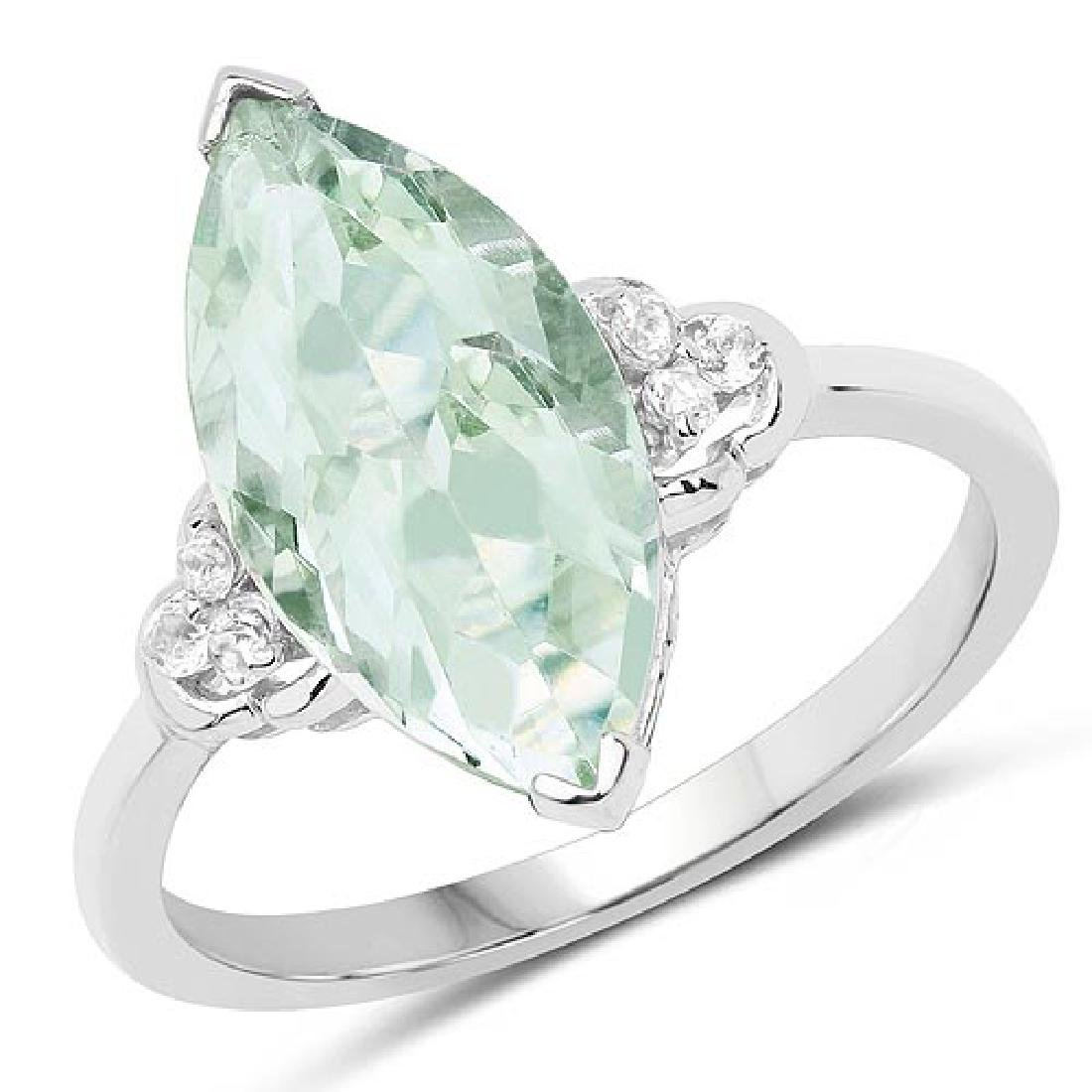 3.63 Carat Genuine Green Amethyst and White Topaz .925