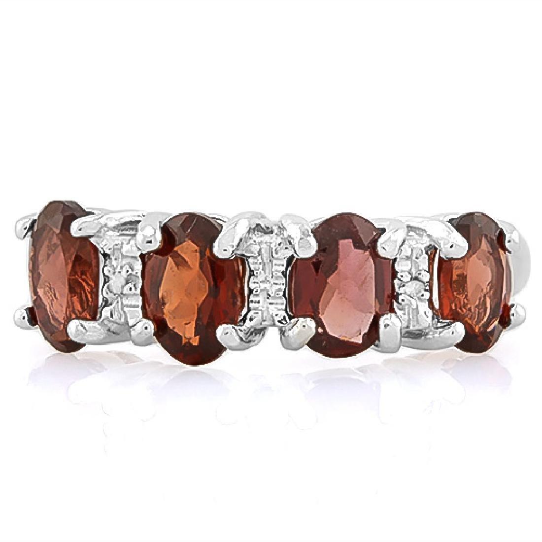 8 1/5 CARAT GARNET & DIAMOND 925 STERLING SILVER RING