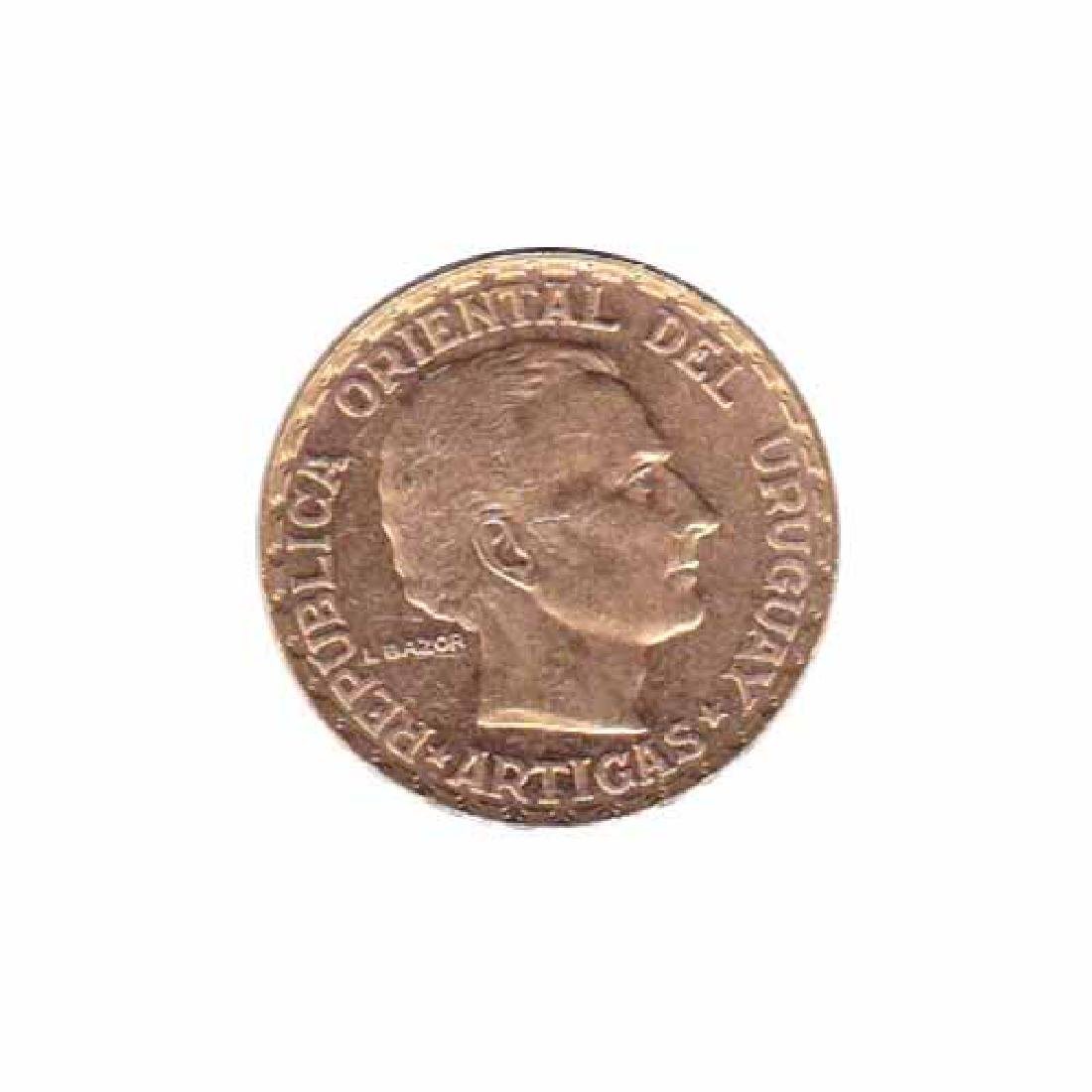 Uruguay 5 pesos gold 1930 AU-UNC