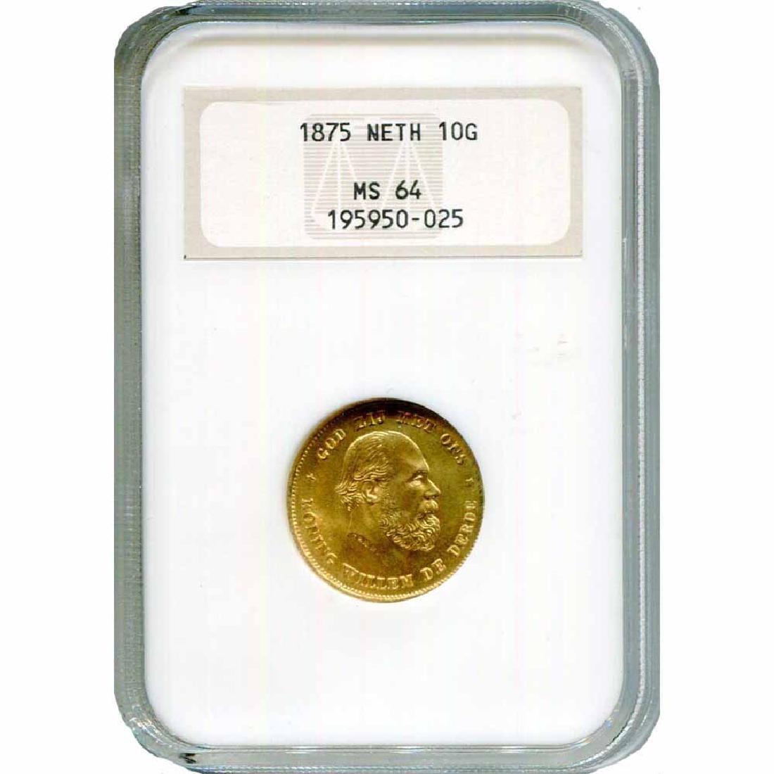 Netherlands 10 Gulden Gold 1875 MS64