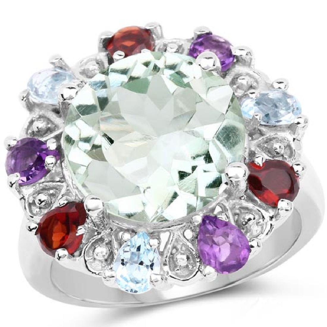 6.53 Carat Genuine Multi Stones .925 Sterling Silver Ri