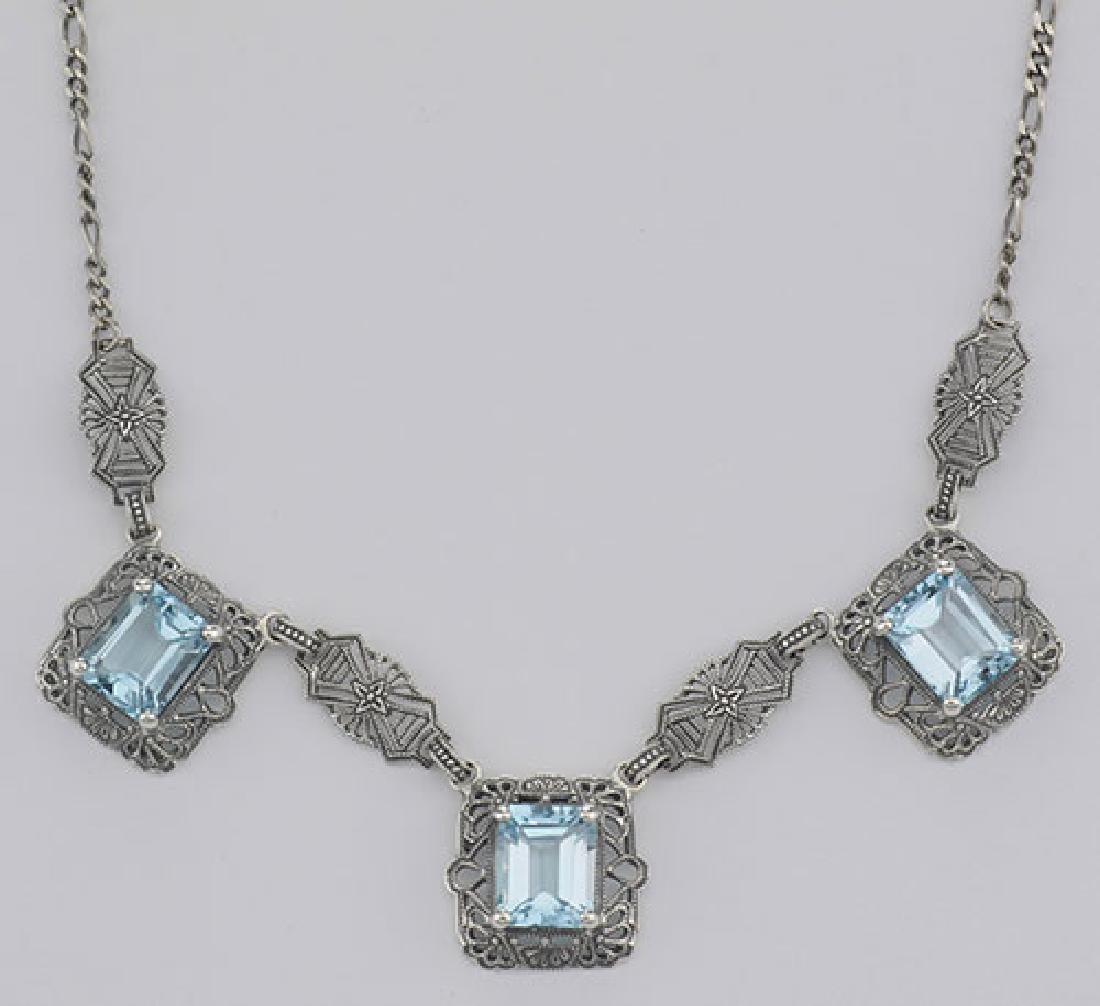 Art Deco Style 3 Gemstone Blue Topaz Filigree 17.5 Inch