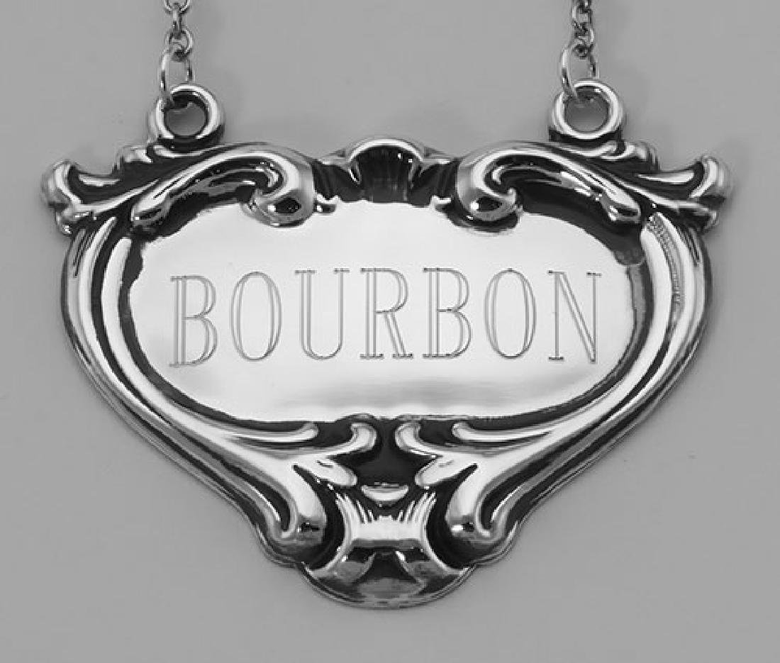 Bourbon Liquor Decanter Label / Tag - Sterling Silver