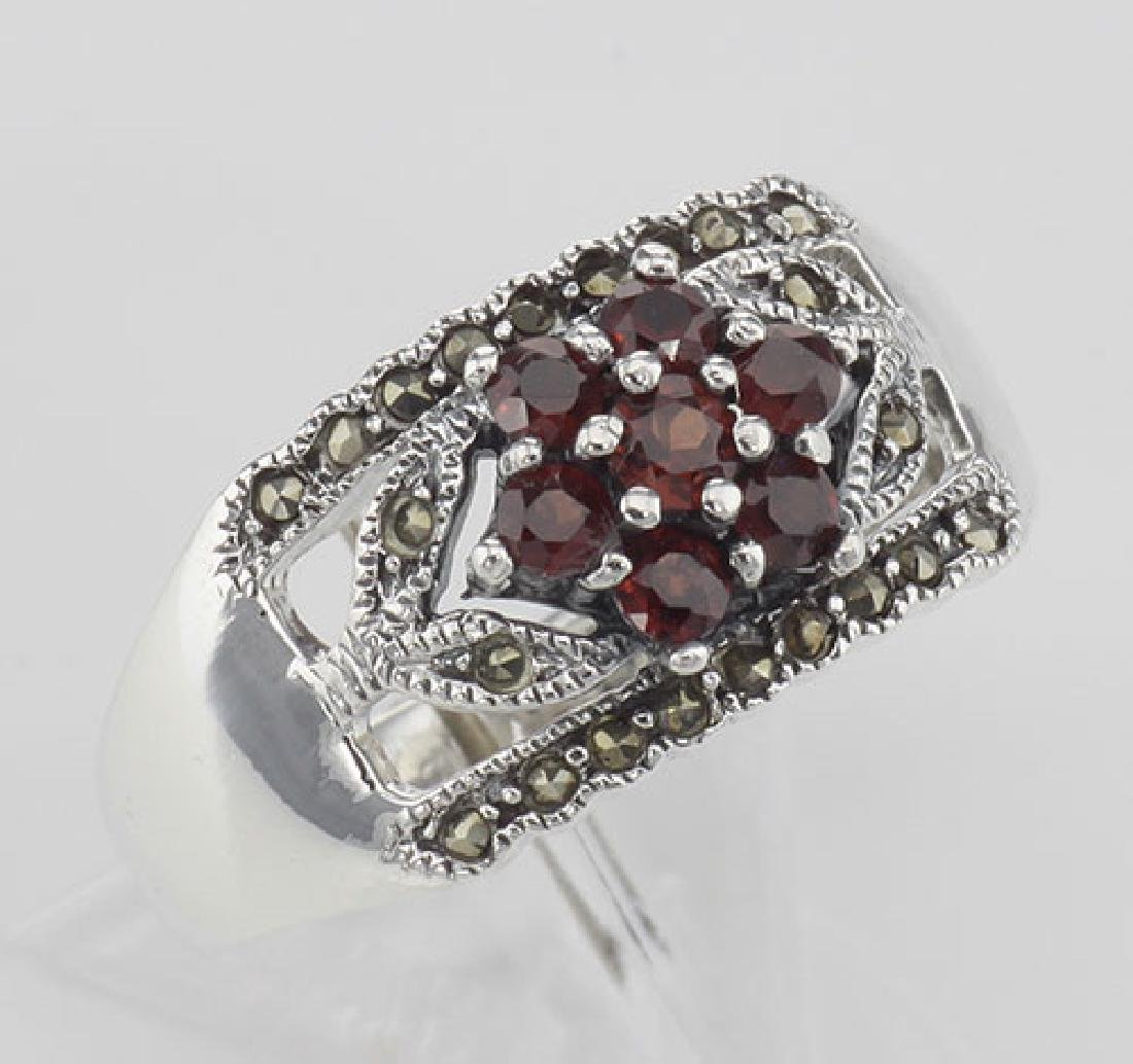 Floral Design Red Garnet Ring with Marcasite accents -