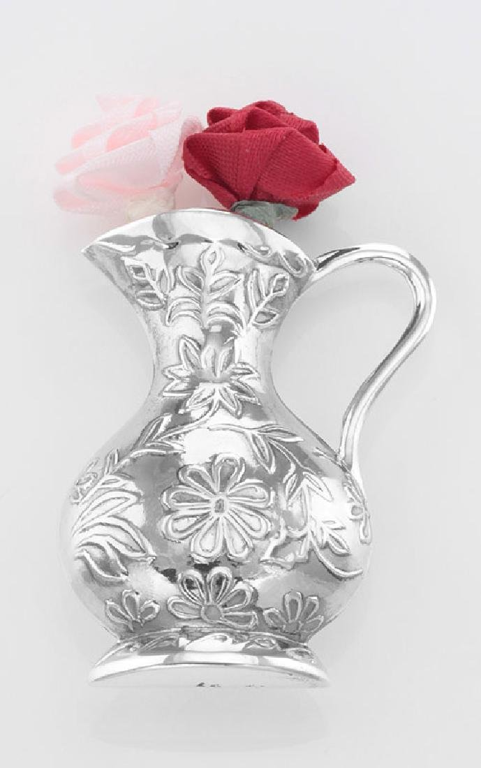 Antique Style Floral Pitcher Vase Pin - Sterling Silver