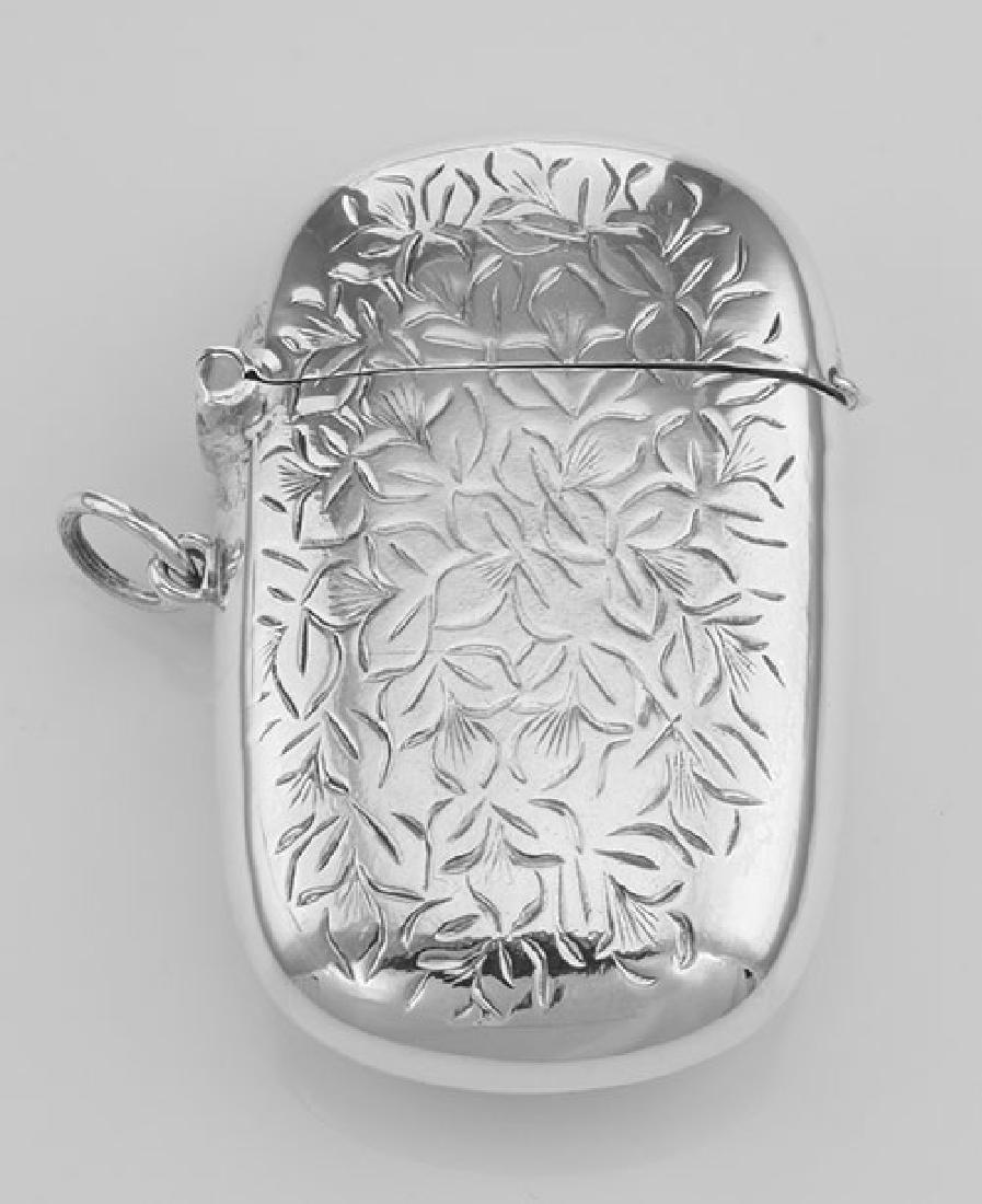 Antique Style Floral Leaves Vesta Match Safe Holder Cas