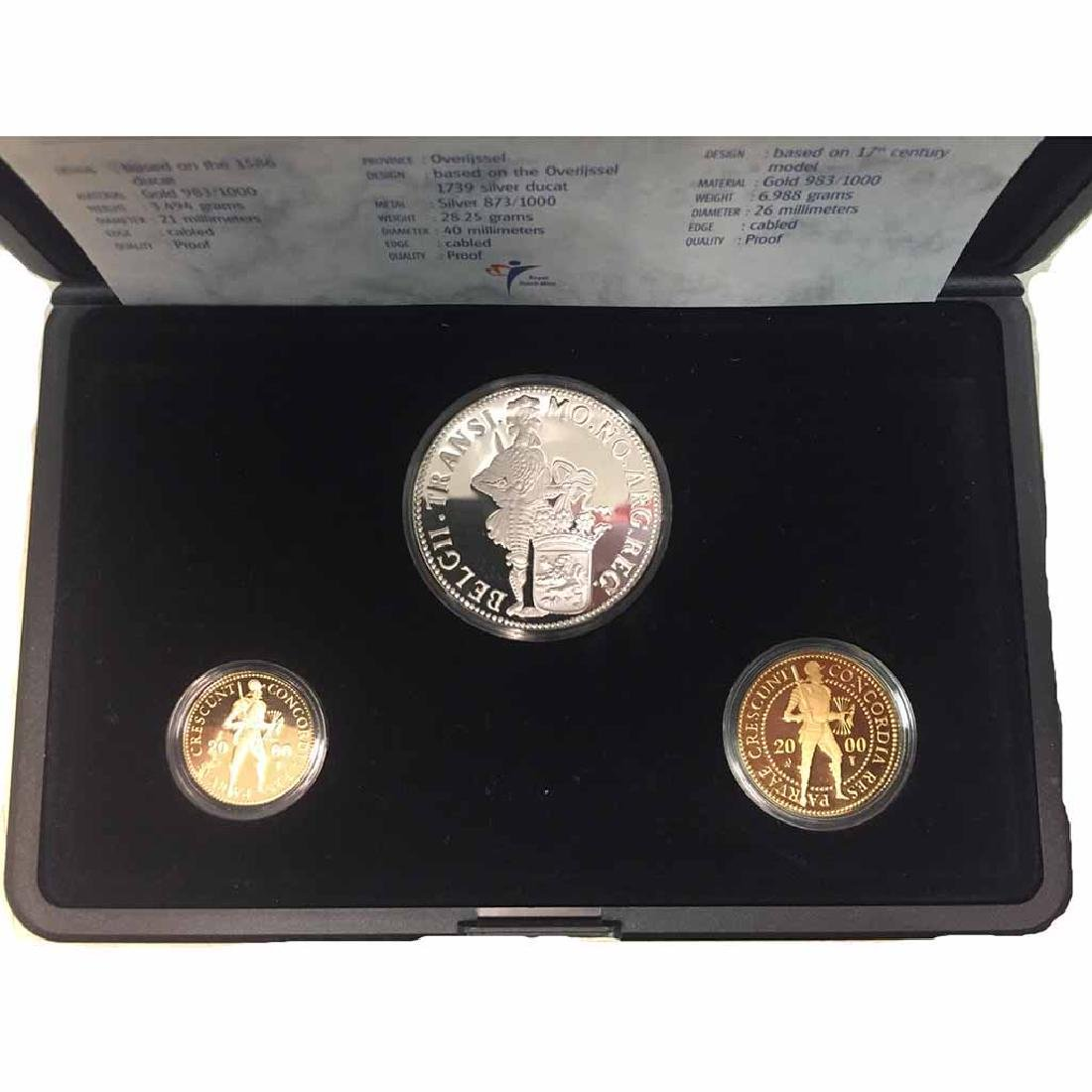 Netherlands 3 piece gold and silver ducat proof set 200