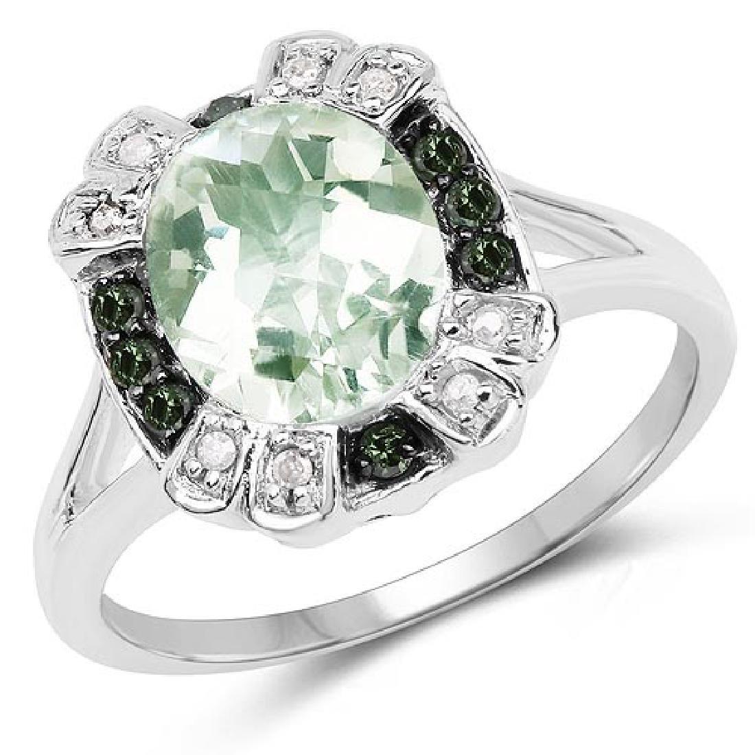 2.82 Carat Genuine Green Amethyst Green Diamond and Wh