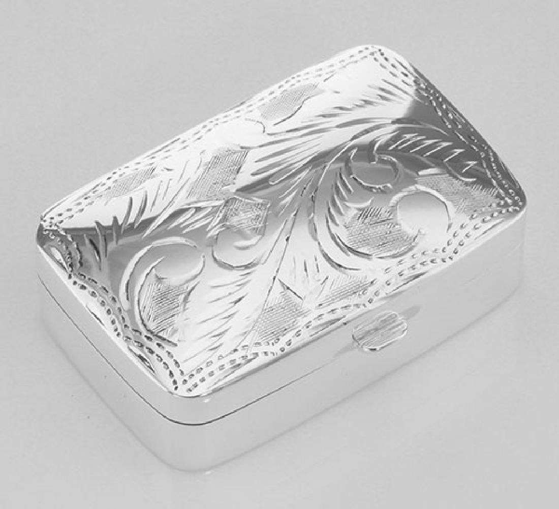 Sterling Silver Pillbox with Etched Design