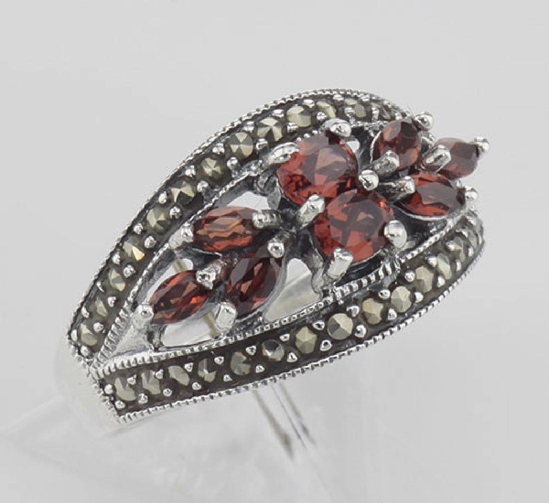 Vintage Style Garnet Ring with Marcasites - Sterling Si