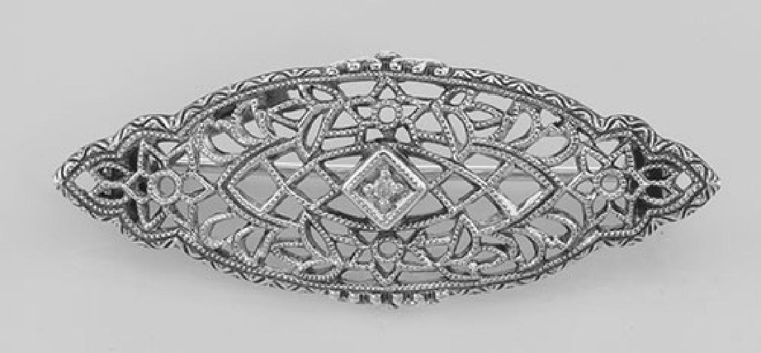 Antique Victorian Style Diamond Filigree Pin / Brooch S