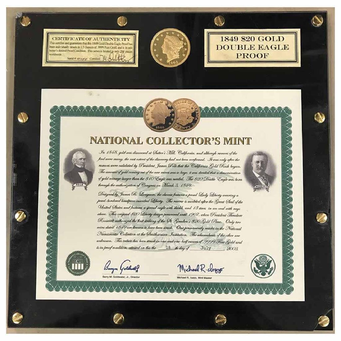 1849 $20 Gold Double Eagle Proof Replica 1.5 oz.