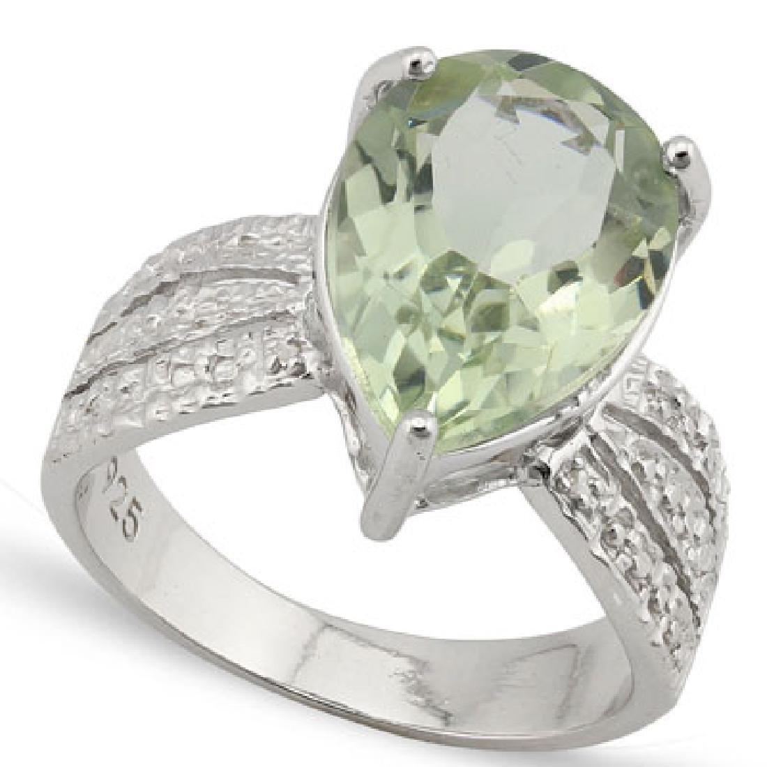 4.533 CARAT TW GREEN AMETHYST & GENUINE DIAMOND PLATINU