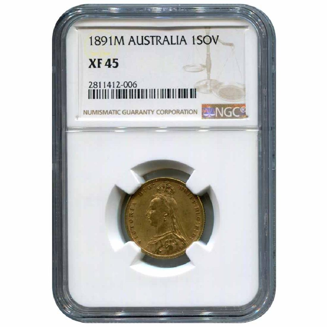 Australia gold sovereign 1891M XF45 NGC