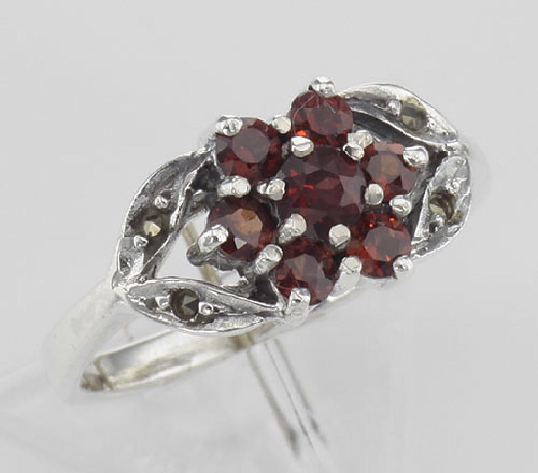 Antique Style Garnet - Marcasite Floral Design Ring - S