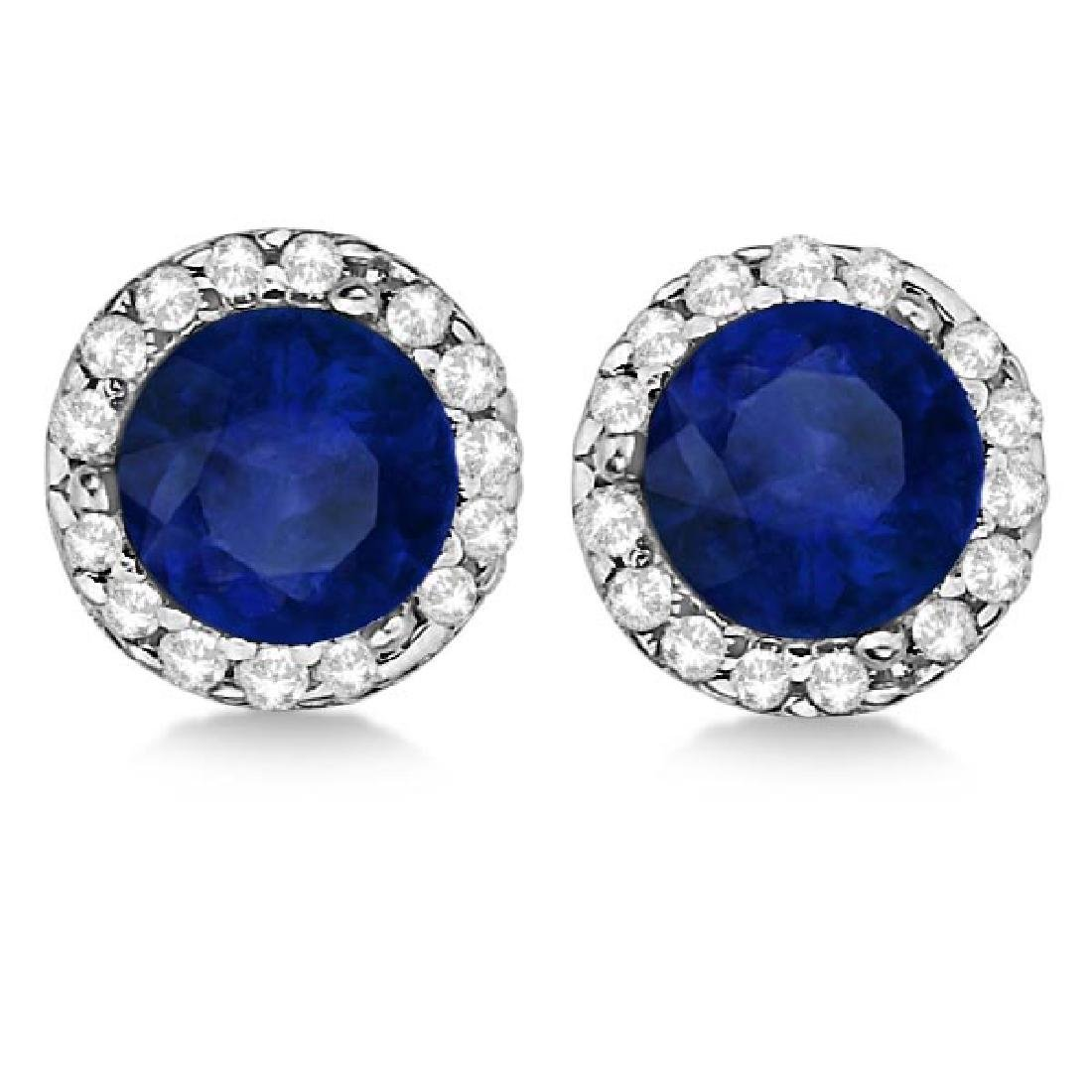 Diamond and Blue Sapphire Earrings Halo 14K White Gold