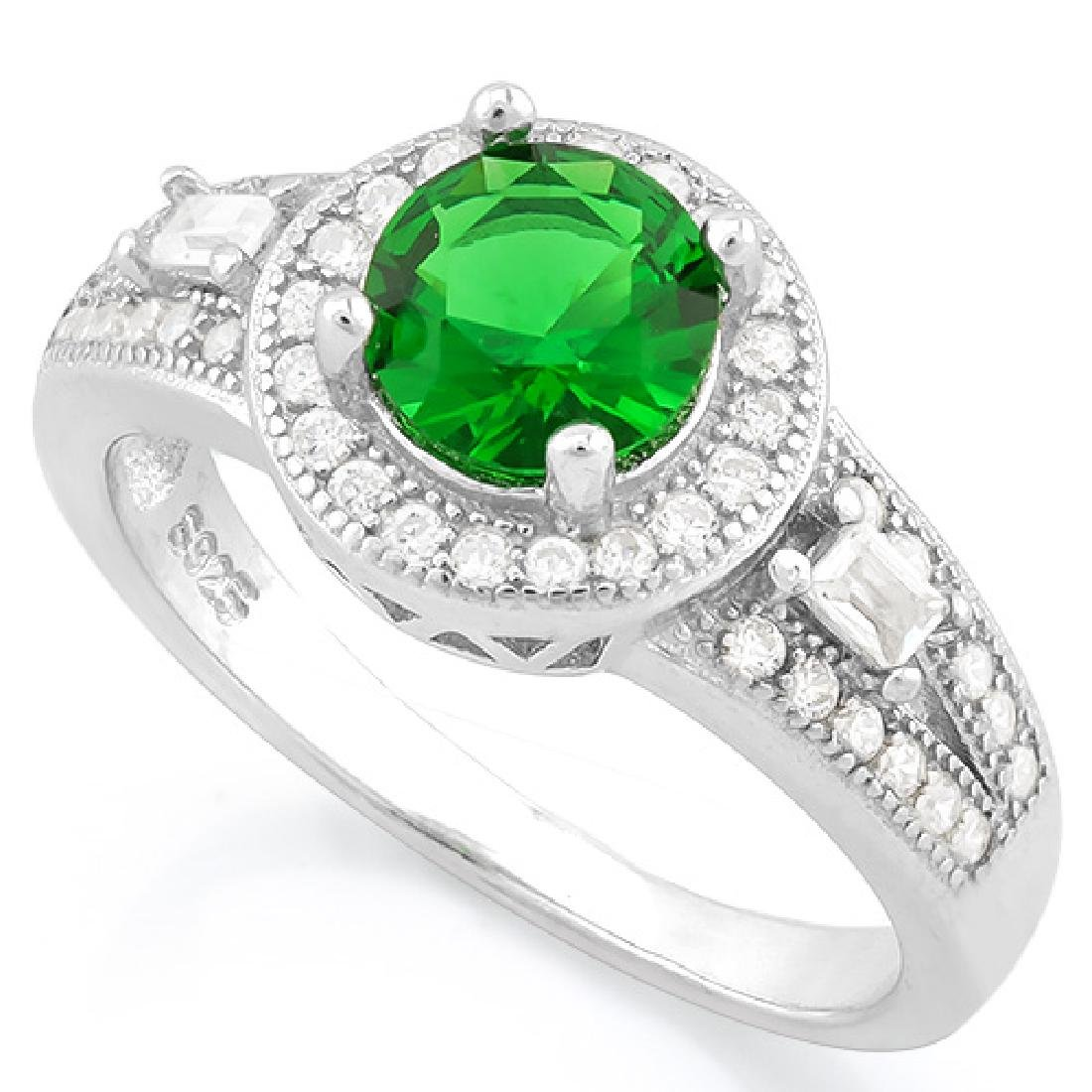 1 CARAT CREATED EMERALD 925 STERLING SILVER HALO RING