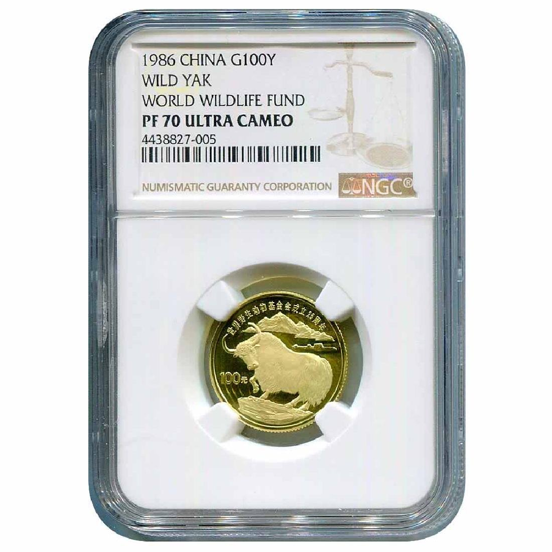 China 100 Yuan Gold 1986 Wild Yak PF70 NGC
