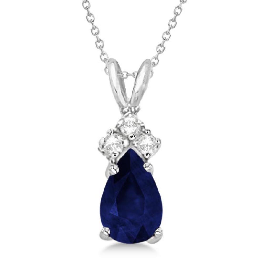 Pear Sapphire and Diamond Solitaire Pendant 14k White G