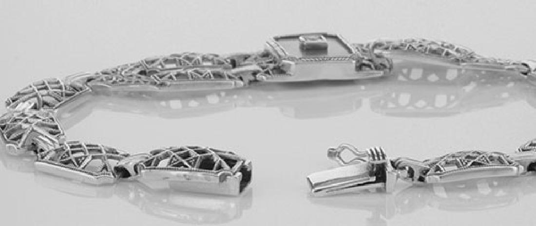 Victorian Style Mother of Pearl Filigree Link Bracelet - 3