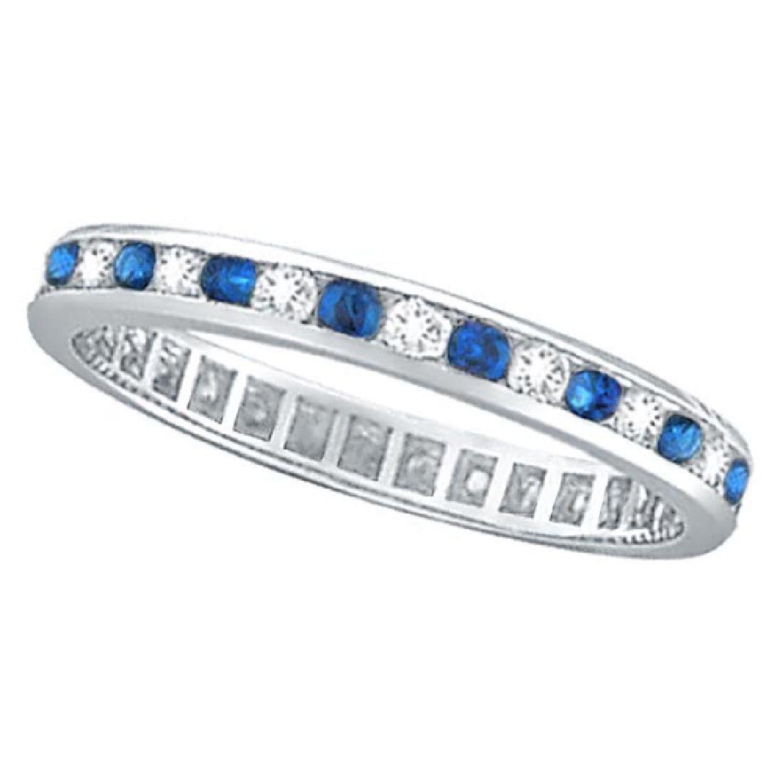 1.04ct Blue Sapphire and Diamond Channel Set Eternity B