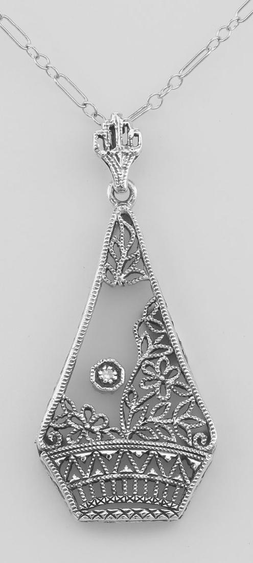 Camphor Glass Crystal Filigree Pendant w/ Diamond - Ste