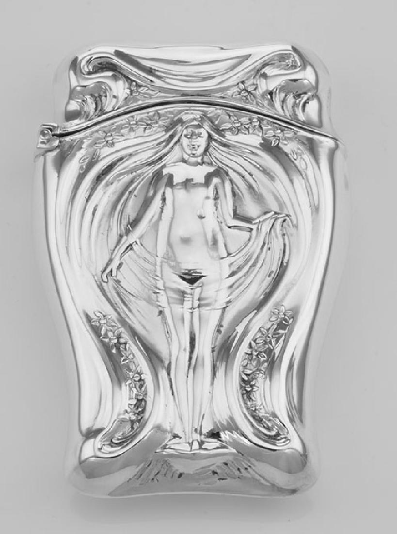 Art Nouveau Style Repousse Nude Match Safe In Fine Ster