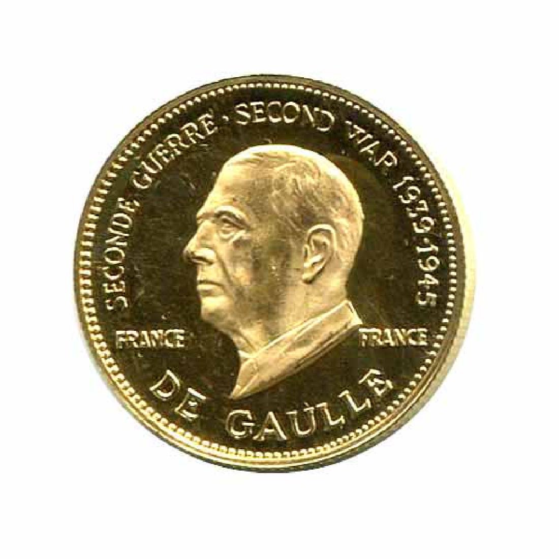 WWII Commemorative Proof Gold Medal 7g. 1958 De Gaulle